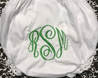 Monogrammed Diaper Covers Bloomers Size 0-6-12-18-24-2T-3T-4T White Diaper Cover