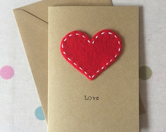 Red Heart Anniversary Card - Heart Felt Card - Valentines Card - Greeting Card