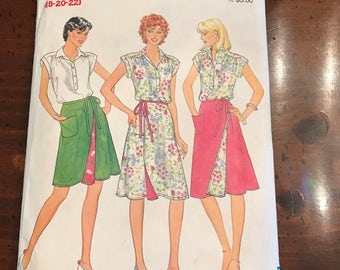 Butterick 4299 Blouse and Reversible Wrap Around Shirt, Size 18 - 22, UNCUT