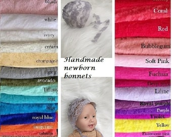 Handmade Newborn Bonnets, Newborn Stretch Lace Bonnet, Baby Girl Boy Photo Photography Prop