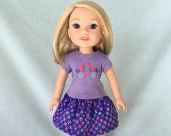 Princess Carriage T-Shirt and Purple Flower Print Skirt for Wellie Wisher/14.5 Inch Doll