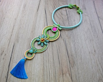 Colorful soutache necklace with tassel