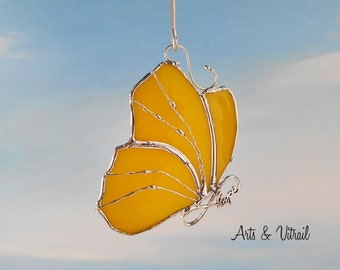 """Yellow butterfly HOPE, Stained glass suncatcher - body HOPE INFINITY, 4"""" x 3"""" (9.6 x 7 cm), stained glass hanging, stained glass cling"""