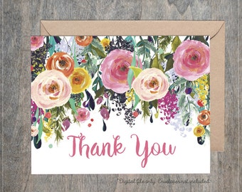 Rose Floral Girl Baby Sprinkle Shower Thank You Cards / Beautiful Watercolor Roses Flowers Floral / Pink Yellow Whimsical Printable Fold