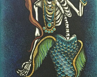"""4x12"""" Day of the Dead giclee print, """"Sirena 3"""""""