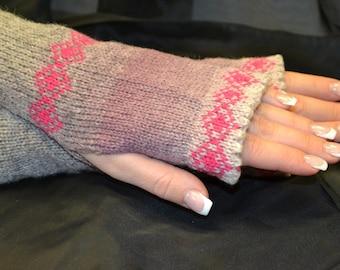 Women Knit Arm Warmers  with ornaments,   Kauni Fingerless Gloves, Knitted FAIRISLE Mittens.