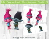 Trolls Centerpieces - Poppy and Branch 6.5 inch Centerpieces mirror - Trolls party - Trolls cake centerpieces - Poppy and Branch