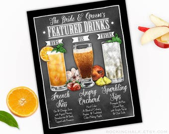 TRIO of DRINKS  | Featured Drinks Sign - Personalized Decoration for Wedding, Engagement Parties, Rehearsal Dinners, Receptions, Functions