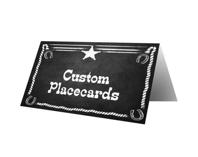 Custom Western Food Buffet placecards in chalkboard style - Perfect for Western Buffet Table, Wild West Party, PRINTABLE Diy tented cards