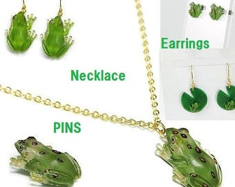 Unique frog Pendant,Necklace,PINS,Earrings-reptiles jewelry,Accessories,tree frog,forest green tree frog
