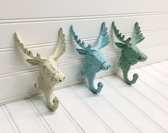 Coat Hook/Moose Hook/Animal Hook/Moose/Nursery Decor/SSLID0112/Shabby Chic/Cabin/Animal Hook/Coat Hooks/Entryway/Nursery/Canadian/Moose