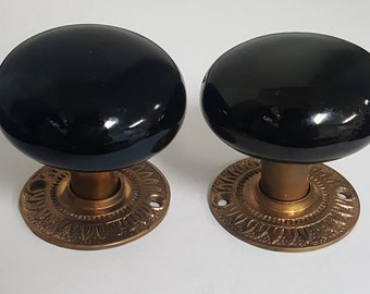 Antique Ceramic Black Doorknobs & Decorative Rosettes 531228