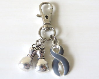 Grey Awareness Zipper Pull Key Chain YOU Select Charms Brain Cancer Brain Tumor Parkinsons Brain Injury Diabetes Asthma