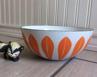 Cathrineholm, Lotus Bowl, Catherine Holm, Orange On White Lotus Bowl, Enamel Bowl, Scandinavian Design, Norway