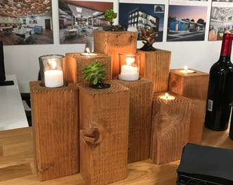 Wooden candle/ succulent holders (holder only)