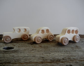 Wood Toy Cars -Handmade Wood Cars-Set of Three SmallTrucks-Push Pull Toy-Heirloom Toy