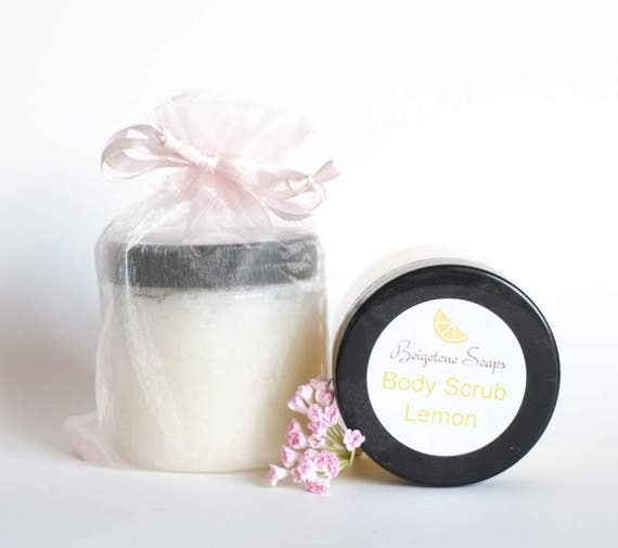 Lemon BODY Scrub | Shea Butter, Olive Oil, Bath Salts, LEMON Essential Oil | Hydrates and Soothes