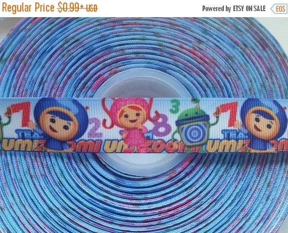 "SUPER SALE TEAM Umizoomi Inspired 7/8"" Grosgrain Hair Bow Craft Ribbon 782607"