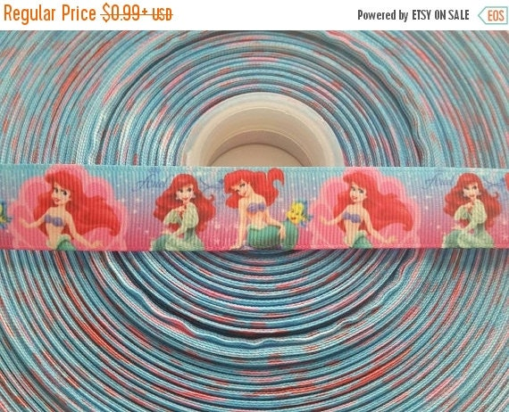 "SUPER SALE A Little Mermaid Inspired 7/8"" 22mm Grosgrain Hair Bow Craft Ribbon 782030"