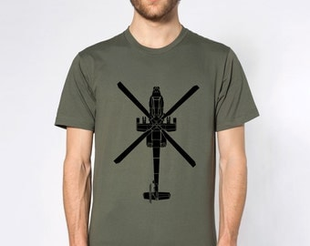 KillerBeeMoto: Boeing AH-64 Apache Attack Helicopter Short Or Long Sleeve T-Shirt Cartoon Version