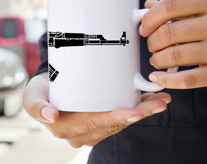 KillerBeeMoto:  U.S. Made AK47 Kalashnikov Assault Rifle On A Coffee Mug
