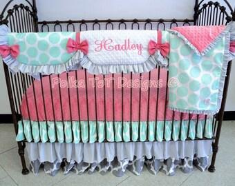 Haddie Coral & Mint Bumper-free Baby Bedding w/Scalloped Rail Guard