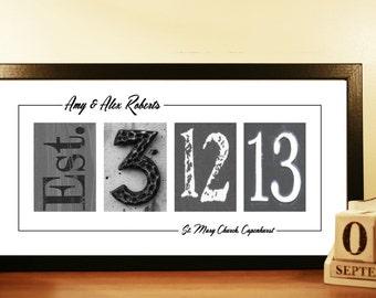 Number Art Photo, Unframed Wedding Gift Idea