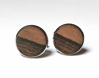 Essential and exclusive wooden cufflinks natural rare wood limited edition