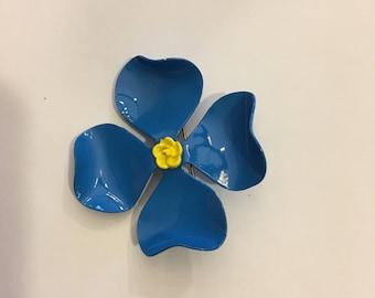 Vintage blue enamel flower pin