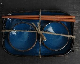 Sushi Set, Rustic Sushi Set, Serving Ceramic Sushi Dishes, Serving Sushi Plate, blue sushi tray