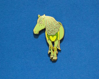 Horse Chinese Zodiac Pin with Rubber Clasp // Hard Enamel, Cloisonne, Accesories, Flair