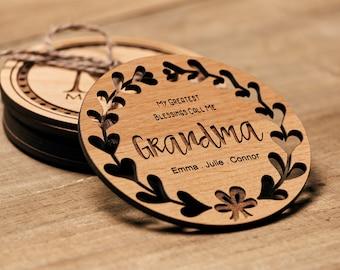 Grandma Gift, Personalized Coasters, Custom Coasters, Lacquered Wood Coaster, Monogram Coaster, ...