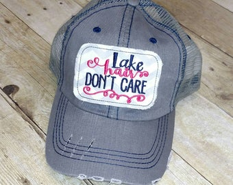 Summer Hair Don T Care Embroidered Raggy Patch Trucker Hat