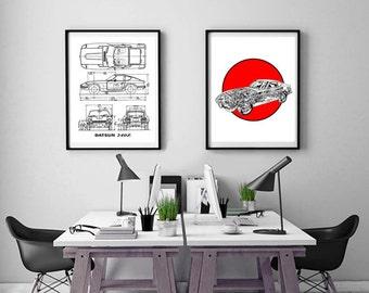 "Datsun 240Z Blueprint, Set of 2, Datsun 240Z, Instant Download, Datsun, Automotive Art, 240Z, Blueprints, Datsun Wall Art, 8x10"", 11x14"""