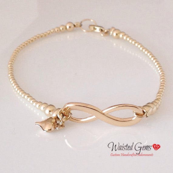 14k Gold Infinity Gold Beaded Bracelet, Gifts for her, Birthday Gift, Mothers Day Gifts, Bridesmaids gifts, Infinity Bracelet   zmw929.1