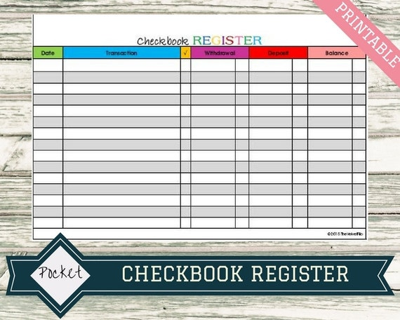 checkbook register for pocket size filofax