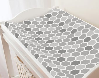 Carousel Designs Gray Honeycomb Changing Pad Cover