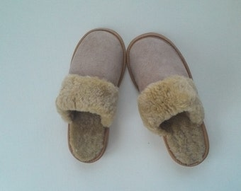 Women Sheepskin  slippers Ukrainian fur slippers Warm slippers leather shoes pure sheepskin