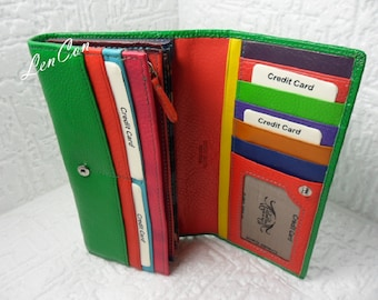 Women Woman Wallet Green-Multicolor Card Holder and Purse, Money Bag