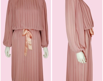 Vintage 80s Pink Dress Pleated 1980s Blush Pink Long Sleeve Dress