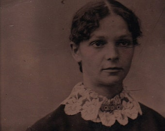 ON SALE Antique 1800's Tintype Photograph Pretty Young Woman Vintage Old Photo