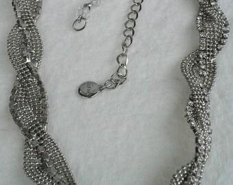Alfani silver tone, braided chain, clear rhinestones, choker necklace