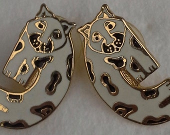 Laurel Burch vtg 90's baby snow leopard stud earrings