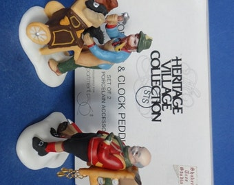 Dept 56 Cobbler and Clock Peddler Retired Heritage Village Accessory