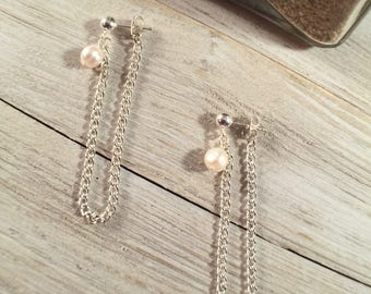 Fresh Water Pearls Silver Chain Drop Earrings