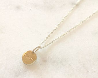 Sterling Silver 'Mom' Necklace