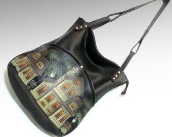 Leather bag hobo bag shoulder bag painted leather purse black leather bag hobo bag Hand-painted purse hobo bag gift for her art handbag