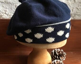 Navy Knitted Beret, Tam For Women, Women's Blue Beret, Cotton Knit Tam, Polka Dot Tam, Women's Cotton Beret, Navy Blue Beret, Dark Blue Tam