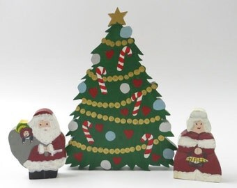 Santa and Mrs. Claus with Christmas Tree Wood Cut Tableau
