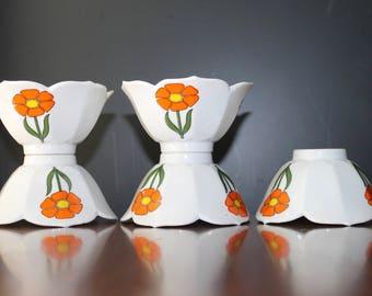 Orange White Yellow Green Lotus Bowls Vintage Serving Bowls Soup Desert Bowls Japanese Rice Bowl Vintage Dinnerware Mad Men Dinner Party